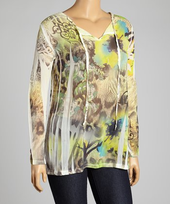 Green Sublime V-Neck Top - Plus