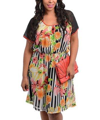 Black & White Stripe Flower Scoop Neck Dress - Plus