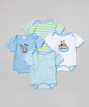 Mon Cheri Baby Blue Puppy Bodysuit Set