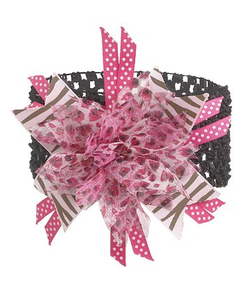 GANZ Black & Light Pink Flower Headband