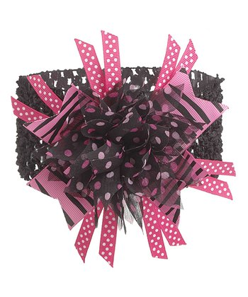 GANZ Black & Hot Pink Flower Headband