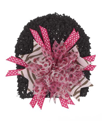 GANZ Black & Light Pink Flower Beanie