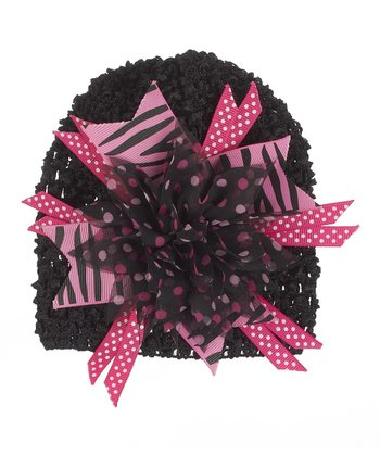 GANZ Black & Hot Pink Flower Beanie