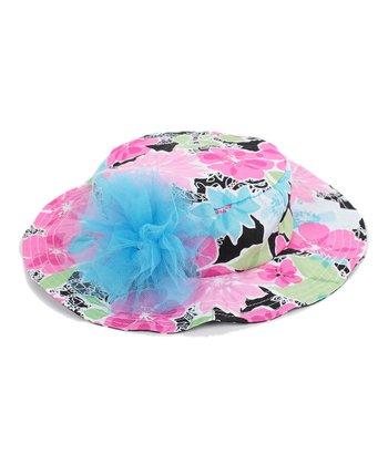 GANZ Pink & Blue Floral Sunhat
