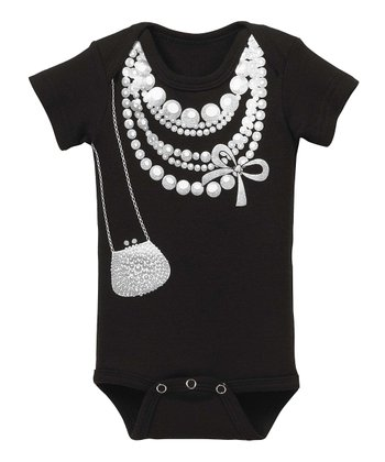 GANZ White & Black Faux Pearl Bodysuit