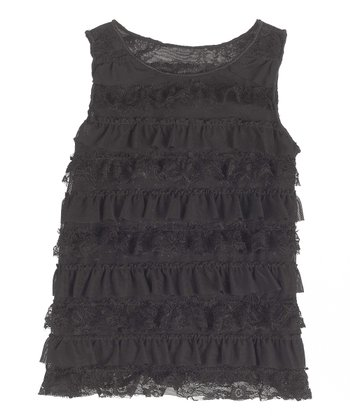GANZ Black Lace Ruffle Dress