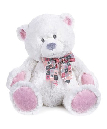 White & Pink 15'' Snowflake Bear Plush Toy
