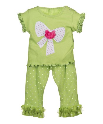 GANZ Green Bow Top & Ruffle Pants