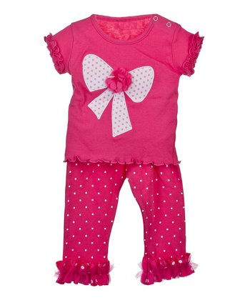 GANZ Pink Bow Top & Ruffle Pants