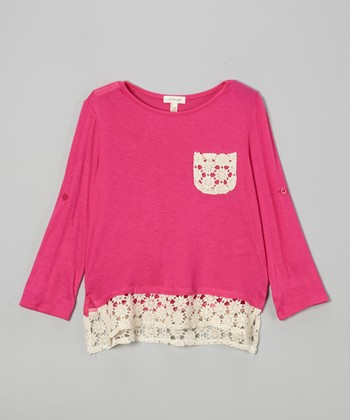 Fuchsia Floral Crocheted Pocket Top