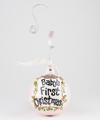 Pink 'Baby's First Christmas' Personalized Ornament