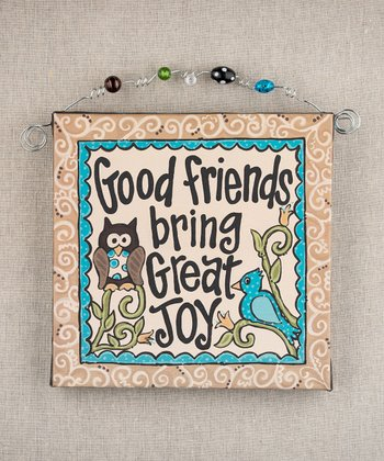 'Good Friends' Owl Beaded Canvas
