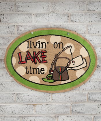 'Livin' On Lake Time' Oval Sign