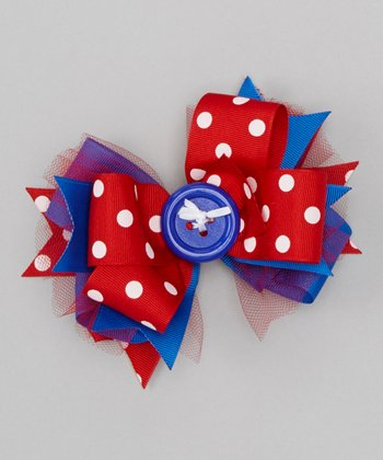 Red & Blue Polka Dot Button Bow Clip