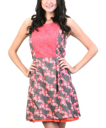 Silver Pearl & Cherry Blossoms Lace Panel Midi Dress