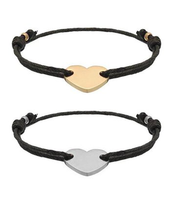 Gold & Silver Heart Friendship Bracelet Set
