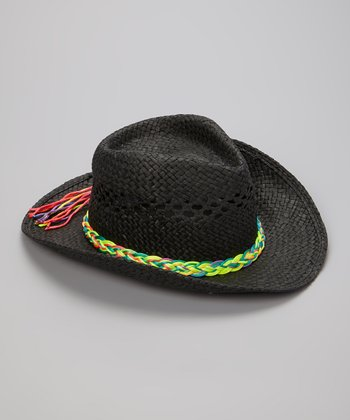 Black & Rainbow Braid Cutout Woven Cowboy Hat