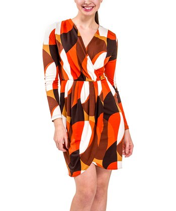 Rust & Brown Geometric Surplice Dress