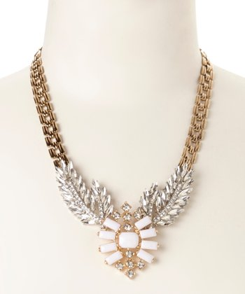 Antique Gold & Crystal Feather Necklace