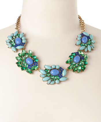 Gold & Green Crystal Blossom Bib Necklace