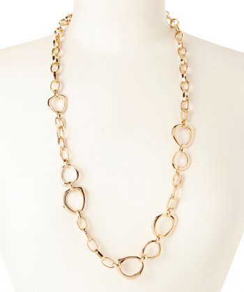 Gold & Silver Rope Chain Link Pendant Necklace