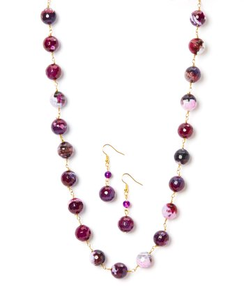 Purple Jasper Necklace & Earrings