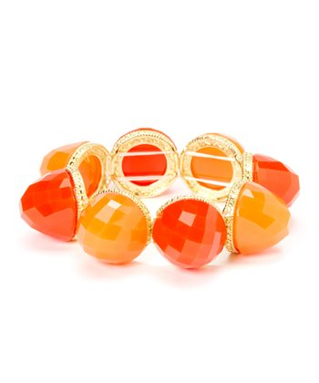 Coral & Orange Dome Stretch Bracelet