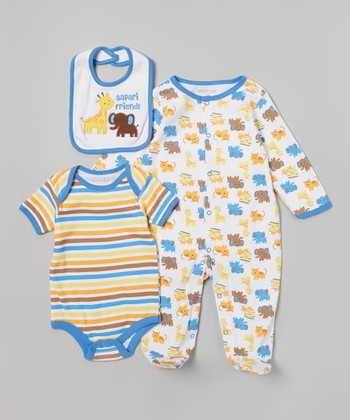 Weeplay Kids Blue Stripe 'Safari Friends' Bodysuit Set - Infant