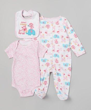 Weeplay Kids Pink Zebra 'Safari Friends' Bodysuit Set - Infant