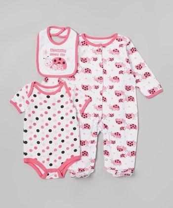 Weeplay Kids Pink Polka Dot 'Mommy Loves Me' Bodysuit Set - Infant