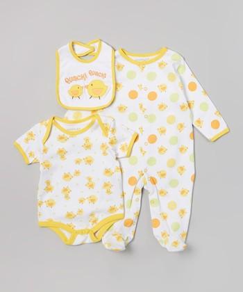 Weeplay Kids Yellow Duckies 'Quack Quack' Bodysuit Set - Infant