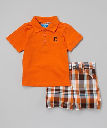 Orange & Brown Plaid Polo & Shorts - Infant & Toddler