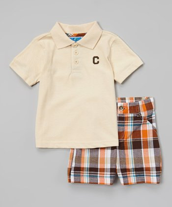 Tan & Orange Plaid Polo & Shorts - Infant & Toddler