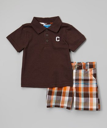 Weeplay Kids Brown & Orange Plaid Polo & Shorts - Infant & Toddler