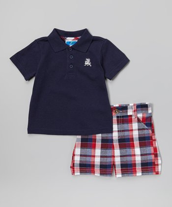 Weeplay Kids Navy & Red Plaid Polo & Shorts - Infant & Toddler