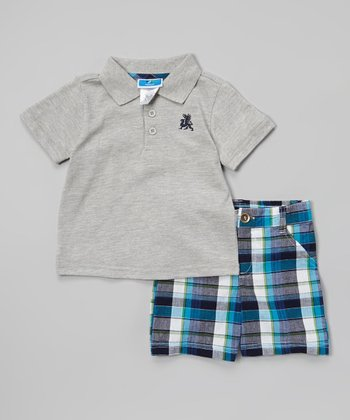 Weeplay Kids Gray & Blue Plaid Polo & Shorts - Infant & Toddler