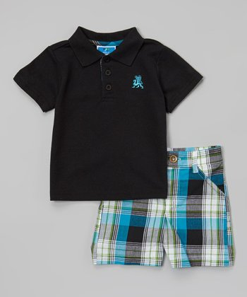 Weeplay Kids Black & Blue Plaid Polo & Shorts - Infant & Toddler
