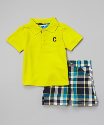 Weeplay Kids Yellow & Teal Plaid Polo & Shorts - Infant & Toddler