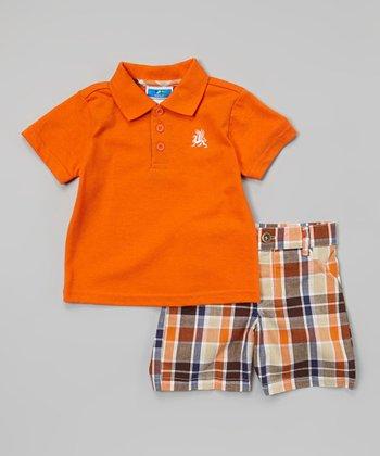 Weeplay Kids Orange & Green Plaid Polo & Shorts - Infant & Toddler