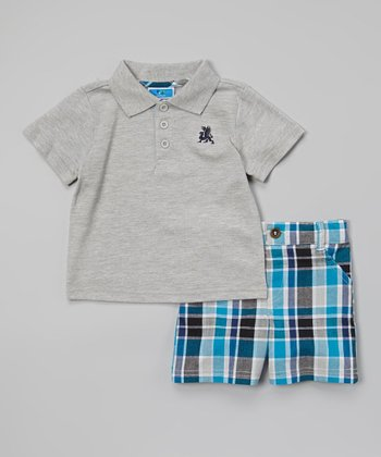 Weeplay Kids Gray & Teal Plaid Polo & Shorts - Infant & Toddler