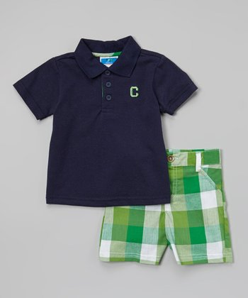 Weeplay Kids Navy & Green Plaid Polo & Shorts - Infant & Toddler