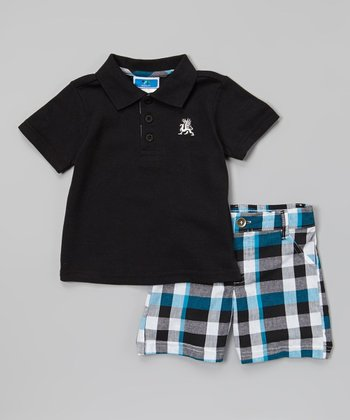 Weeplay Kids Blue & Gray Plaid Polo & Shorts - Infant & Toddler