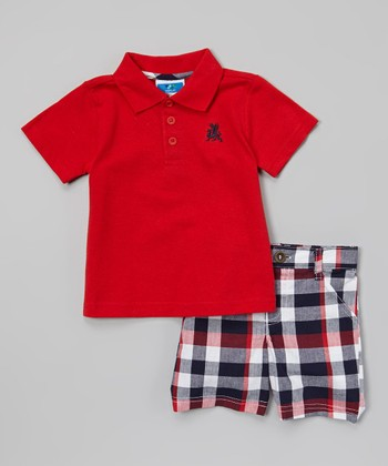 Weeplay Kids Red & Gray Plaid Polo & Shorts - Infant & Toddler