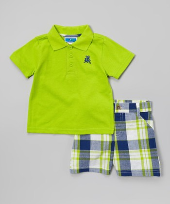 Weeplay Kids Lime & Gray Plaid Polo & Shorts - Infant & Toddler