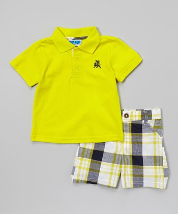 Weeplay Kids Yellow & Gray Plaid Polo & Shorts - Infant & Toddler