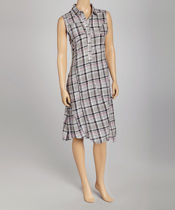 Lavender Plaid Stuart Shirt Dress - Women