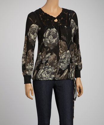 Gray & Black Floral Long-Sleeve Top