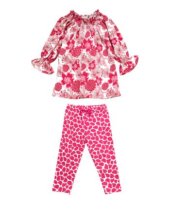 Giraffe Pink Love Garden Tunic & Giraffe Leggings - Infant
