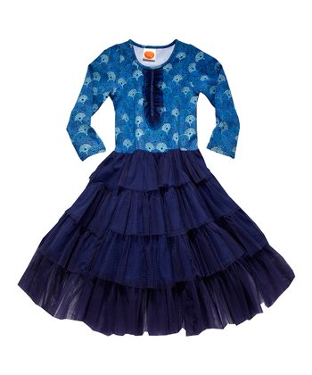 Navy Japanese Marigold Mambo Dress - Toddler & Girls