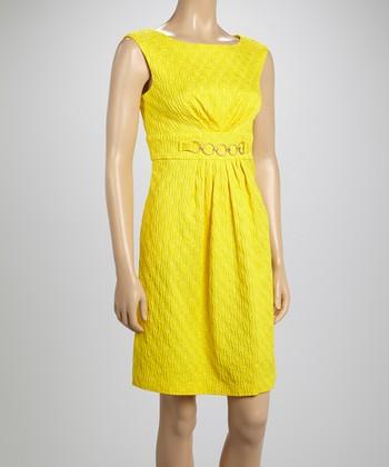 Sandra Darren Yellow Jacquard Sleeveless Dress